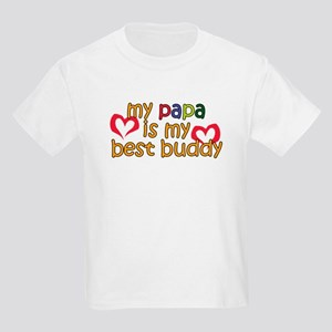 Papa is My Best Buddy Kids Light T-Shirt